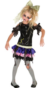 Zombie Doll Costume. Contains Dress, headpiece and tights