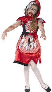 Zombie Miss Hood Girls Halloween Costume, includes blue check dress with hooded cape.