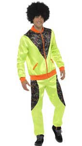 Retro Shell Suit Costume, Mens, Neon Green, with Jacket & Trousers