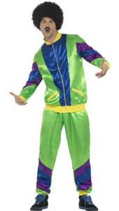 80s Height of Fashion Shell Suit Costume, Male, Green, with Jacket & Trousers