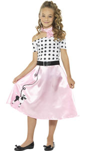 50s Poodle Girl Costume includes dress, neck tie and belt.