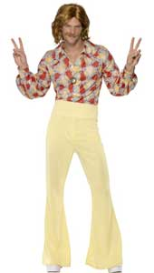 60s Groovy Guy Costume, includes shirt and high-waisted flared trousers.