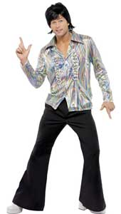 70s Retro Man Costume, includes shirt and flares.