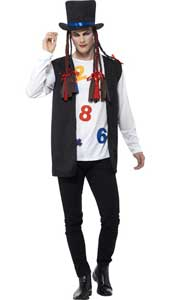 80s Pop Star Costume includes top, waistcoat, hat and braids.