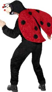 Adult Ladybug Fancy Dress Costume includes jumpsuit with hood.