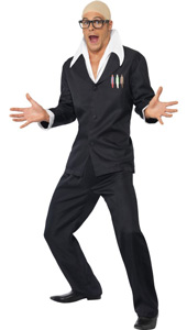 Harry Hill Bald Comedian Costume, includes jacket with mock shirt, trousers, bald cap and glasses.