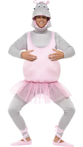 Ballerina Hippo Costume includes a foam bonded bodysuit is complete with trousers, headpiece and shoe covers.
