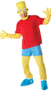 Bart Simpson Costume, includes Mock T-Shirt with arms and hands, headpiece, tousers with mock shorts and shoe covers