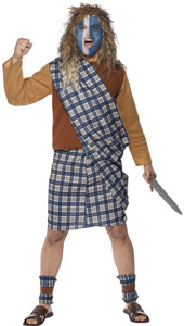 Brave Scotsman Costume, includes top, kilt with sash and leg ties.