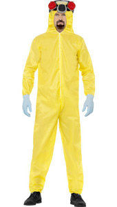 Breaking Bad Costume, includes yellow Hazmat suit, mask, gloves and goatee.
