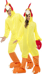 Chicken Costume, yellow fur, includes jumpsuit with hood.