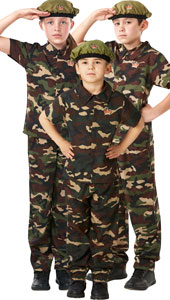 Child Soldier Costume, includes shirt, trousers and beret.