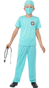 Childs Surgeon Costume, includes top, trousers, hat, mask and stethescope.