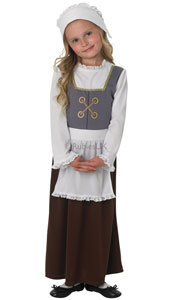 Tudor Girl Costume, includes dress with apron and bonnet.