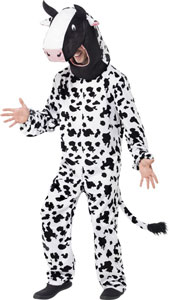 Cow Fancy Dress Costume includes bodysuit with tail and hood