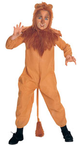 From the Wizard of Oz, Cowardly Lion Costume, includes plush headpiece with attached collar and jumpsuit.