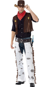 Cowboy Costume, includes waistcoat, chaps, scarf and hat.