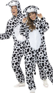 Adult Dalmation Costume, includes jumpsuit with hood.