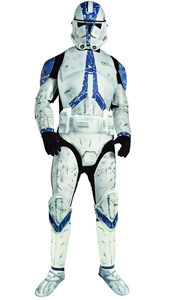 Deluxe Clone Trooper Costume, includes jumpsuit with EVA pieces and mask.