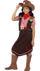 Deluxe Cowgirl Costume includes top, skirt, hat and necktie.