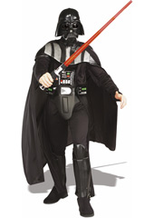 Deluxe Darth Vader Costume, consisting of injection molded helmet / mask, flowing cape, belt and jumpsuit with molded EVA collar, boot tops & chest piece.