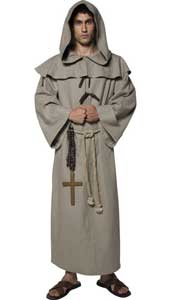 Tales of Old England Deluxe Friar Tuck Costume, includes robe, hood, belt and cross.
