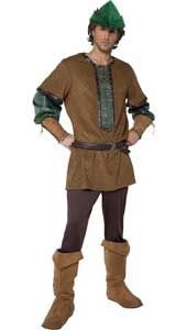 Tales of Old England Robin Hood Costume, includes top, trousers, belt, boot covers and hat. BOW AND ARROW NOT INCLUDED.