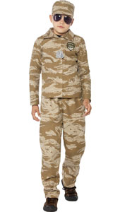 Desert Army Costume includes top, trousers and hat