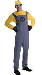 Despicable Me Minion Dave Costume, includes jumpsuit, gloves, headpiece and goggles.