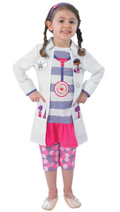 Doc McStuffin Costume, includes printed jacket with mock jumper, leggings and headband.