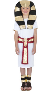 Egyptian Boy Costume, includes robe, belt, headpiece and anklets.