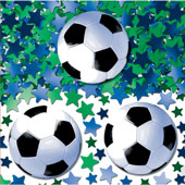 Metallic printed confetti with a football theme, containing footballs and green and blue stars.
