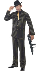 Gold Pinstripe Gangster Costume, includes jacket, trousers, shirt front and tie. HAT NOT INCLUDED - SOLD SEPARATELY.