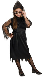 This vampire dress comes delicately laced with sleeves that appear to have become home to a nest of spiders. The hem is 100% vampire bat, while what lurks beneath the hood is up to you. Gothic Lace Vampiress, includes dress with lace sleeves and waist