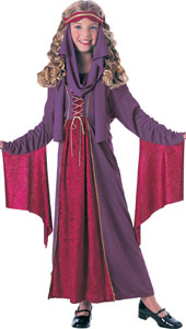 Gothic Princess Costume includes headpiece with drape & velvet trimmed dress with drawstring.