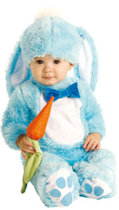 Handsome Lil Wabbit Costume, includes jumpsuit, hat with ears and carrot rattle.