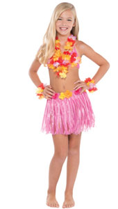 Hawaiian Child Hula Kit, includes skirt 55cm * 30cm with adjustable waistband, hibiscus bra, flower lei and bracelets / anklets. One size fits most.