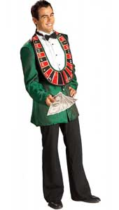 High Roller Costume, includes jacket with shirt front and roulette wheel collar, and bow tie.