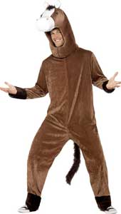 Horse Costume, includes bodysuit with tail and hood.  One Size.