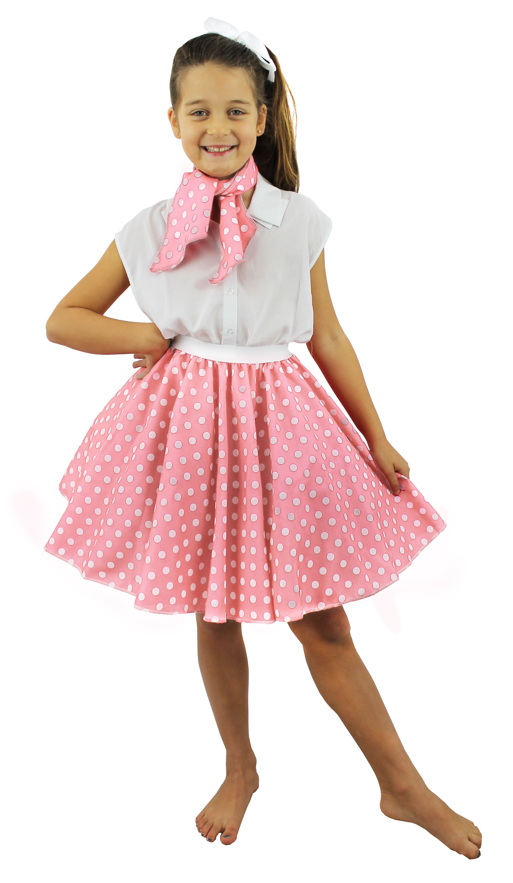 Child Short Light Pink 1950s Skirt and Scarf Set Fancy Dress ...