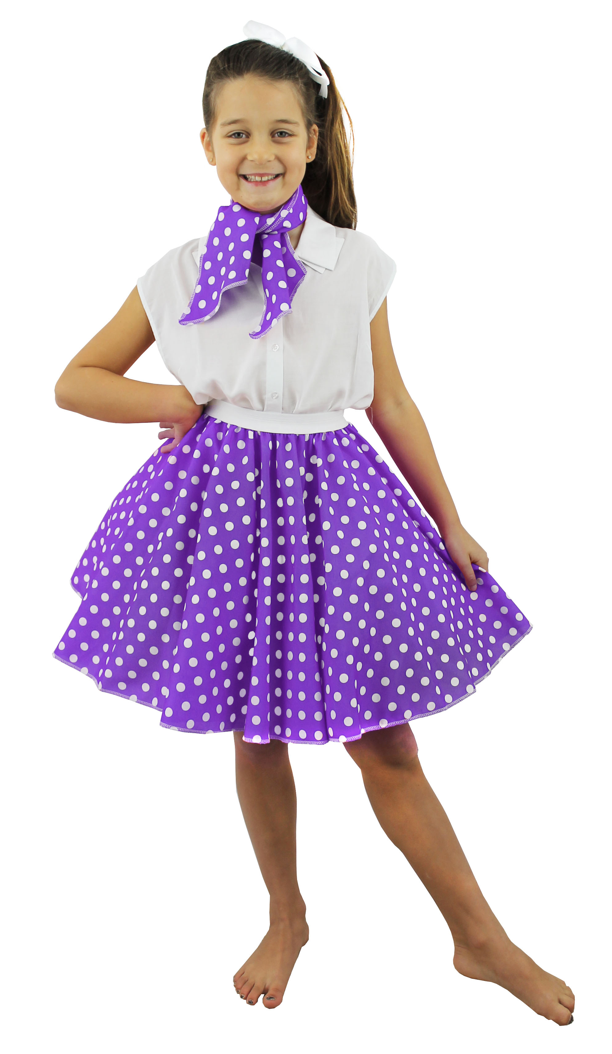 Child Short Purple 1950s Skirt and Scarf Set Fancy Dress Costumes ...