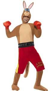 Kangaroo Boxer Costume, includes jumpsuit with shorts and tail, gloves and headpiece.