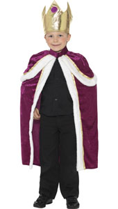 Kiddy King Costume, includes robe and crown.