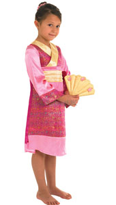 Oriental Princess Costume, includes dress, matching fan and scrunchie for your hair.  Richly patterned and finished with faux silk bands.