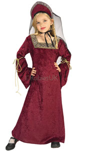 Lady of the Palace Costume, includes burgundy velvet dress and headpiece with veil.
