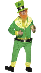 Leprechaun Costume, includes green jumpsuit, jacket, hat and ginger beard.