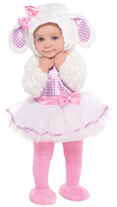 The Little Lamb Costume for babies features a dress with snowy white faux fur sleeves, a pink gingham bodice and flouncy tutu skirt with a pink satin waistband and bow. A soft, furry hood has floppy lamb ears with gingham lining and a matching pink bow, a