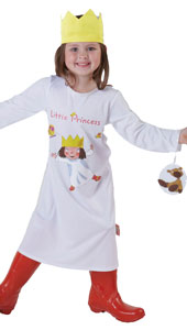 Little Princess Costume includes printed dress with detachable character fob and fabric crown.