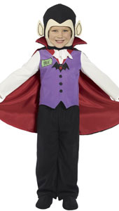 Vampire Costume, includes trousers, top, shoes , cape and headpiece.