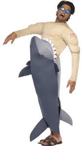 Man Eating Shark Costume, includes bodysuit and goggles.
